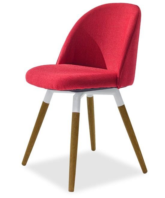 Jídelní židle ALLY 9368-228+FIDO 9315-454 (červená,bílá,dub)