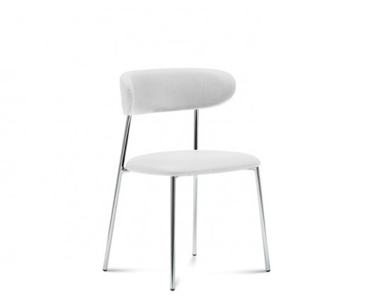 Jídelní židle Anais - Jídelní židle (chromovaná ocel, eko kůže bílá)