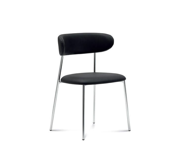 Jídelní židle Anais - Jídelní židle (chromovaná ocel, eko kůže černá)