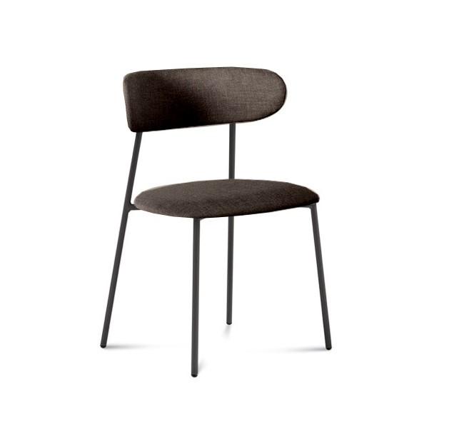 Jídelní židle Anais - Jídelní židle (lak antracit matný, látka hnědá)