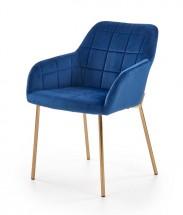 Jídelní židle Belen (látka, kov, modrá)