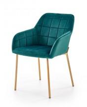 Jídelní židle Belen (látka, kov, zelená)