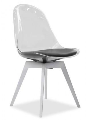 Jídelní židle Bonni 9302-800+BESS 9317-001 (transparentní,bílá)