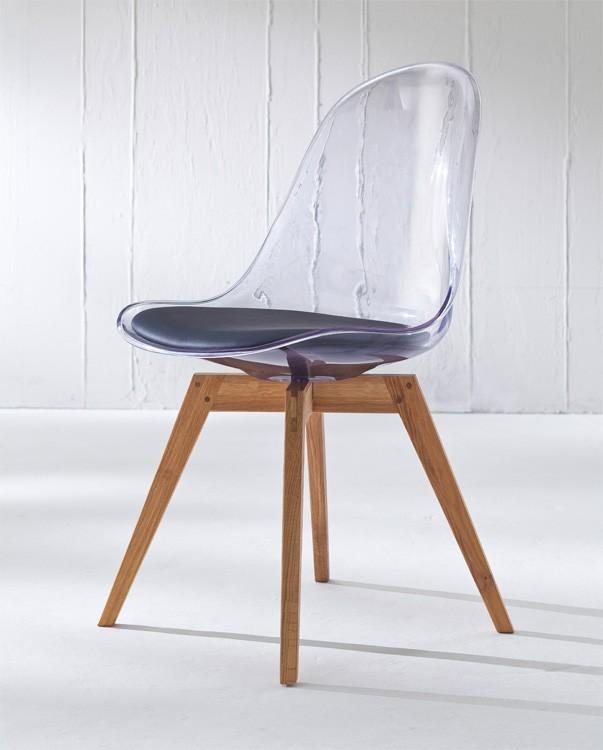 Jídelní židle Bonni 9302-800+BESS 9317-054 (transparentní,dub)