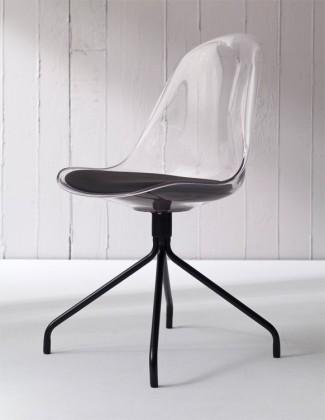 Jídelní židle Bonni 9302-800+EGO 9319-824 (transparentní,černá)