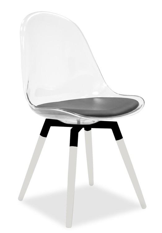 Jídelní židle Bonni 9302-800+FIDO 9315-101 (transparentní,bílá,černá)