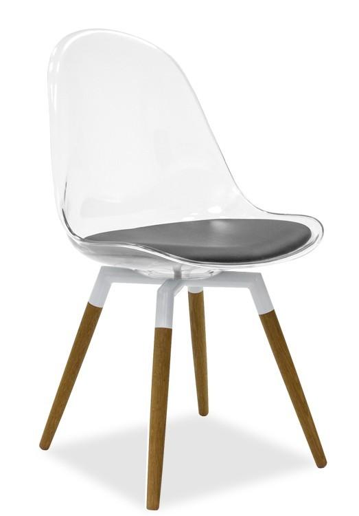 Jídelní židle Bonni 9302-800+FIDO 9315-454 (transparentní,bílá,dub)