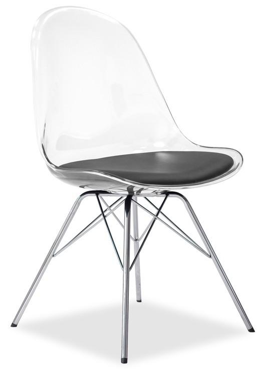 Jídelní židle Bonni 9302-800+PORGY 9316-091 (transparentní,chrom)