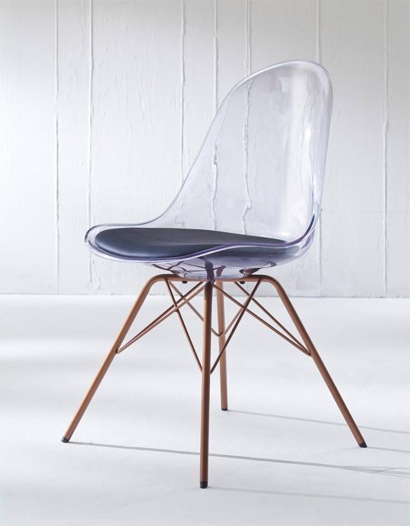 Jídelní židle Bonni 9302-800+PORGY 9316-889 (transparentní,měď)