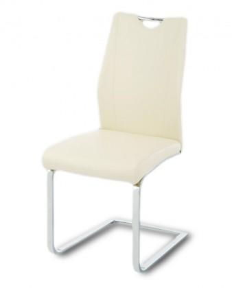 Jídelní židle Carol(koženka vanilková/chrom)