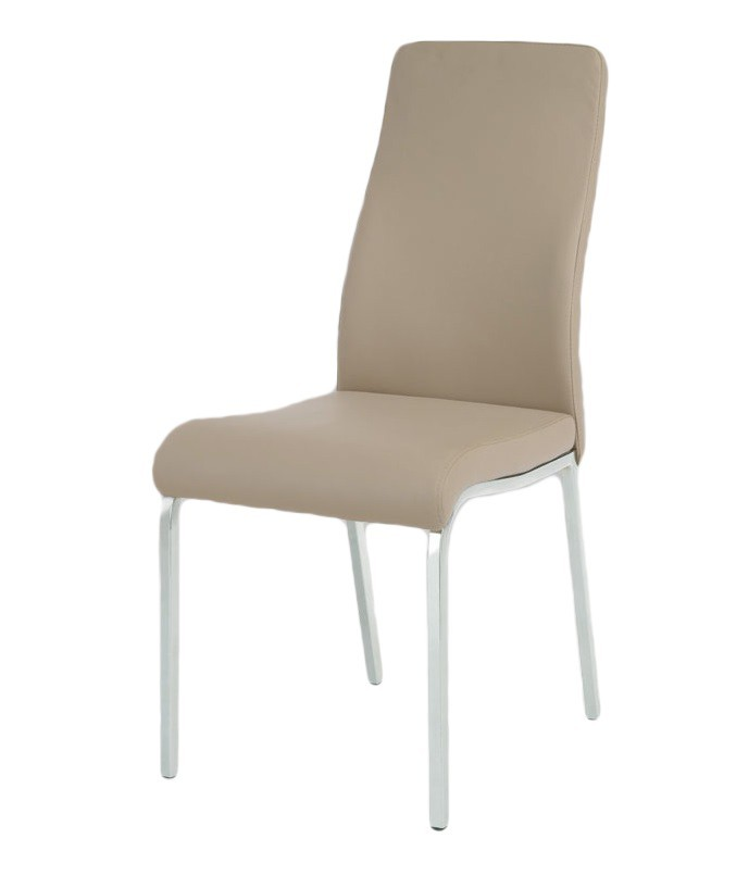 Jídelní židle Chloe(koženka lanýžová/chrom)