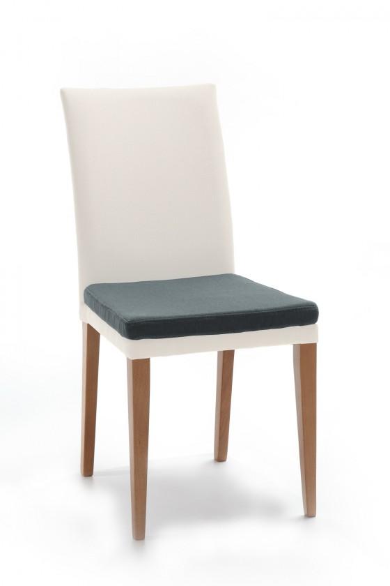 Jídelní židle Crista (dub/látka carabu bílá/sedák šedá)