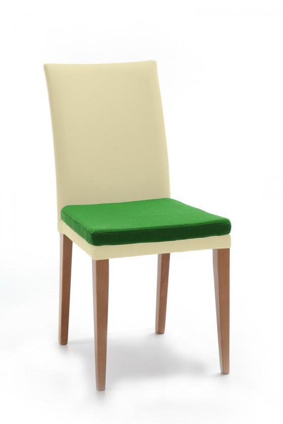 Jídelní židle Crista (dub/látka carabu světle béžová/sedák zelená)