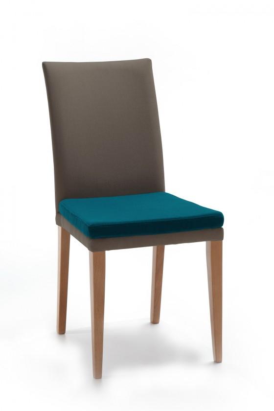 Jídelní židle Crista (dub/látka navara šedá/sedák petrolejová)