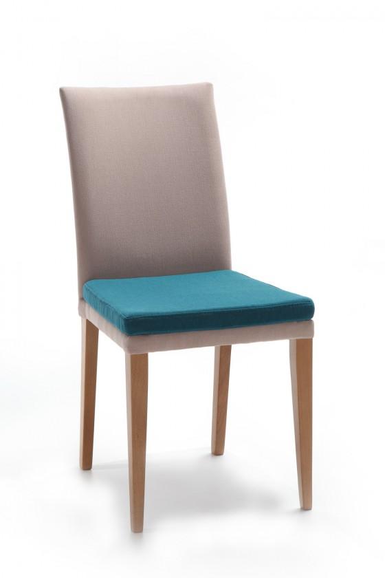Jídelní židle Crista (dub/látka orion béžová/sedák mořská zelená)
