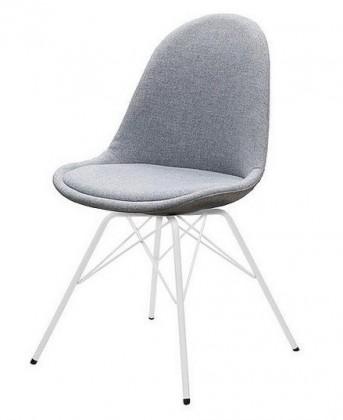 Jídelní židle Donna Porgy (sedák šedá / konstrukce bílá)