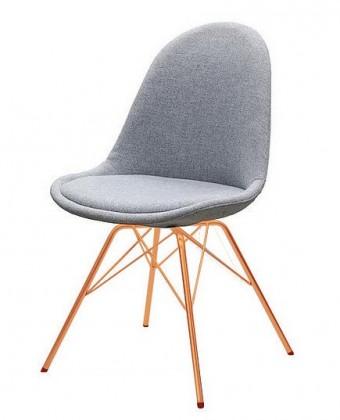 Jídelní židle Donna Porgy (sedák šedá / konstrukce měď)