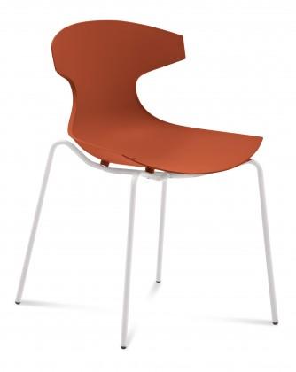 Jídelní židle Echo - Jídelní židle (bílý lak, cihlově červená)