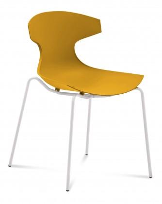 Jídelní židle Echo - Jídelní židle (bílý lak, hořčicová)