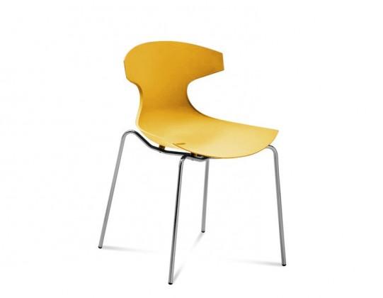 Jídelní židle Echo - Jídelní židle (chrom, hořčicová)