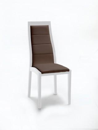 Jídelní židle Floreana (bílá mat / látka antara tmavě hnědá)