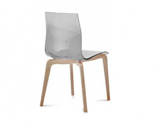Jídelní židle Gel-L - Jídelní židle (bílá ashwood, průhledná)