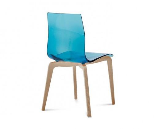 Jídelní židle Gel-L - Jídelní židle (bílá ashwood, světle modrá)