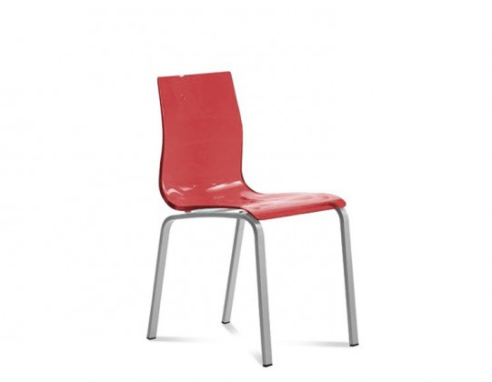 Jídelní židle Gel-R - Jídelní židle (hliník, červená)