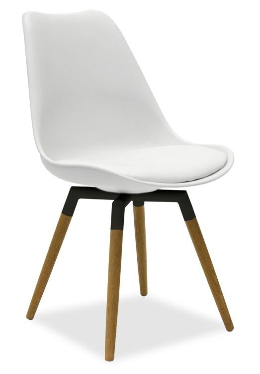 Jídelní židle GINA 9301-801+FIDO 9315-154 (bílá,dub)
