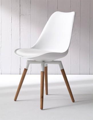 Jídelní židle GINA 9301-801+FIDO 9315-454 (bílá,černá,dub)