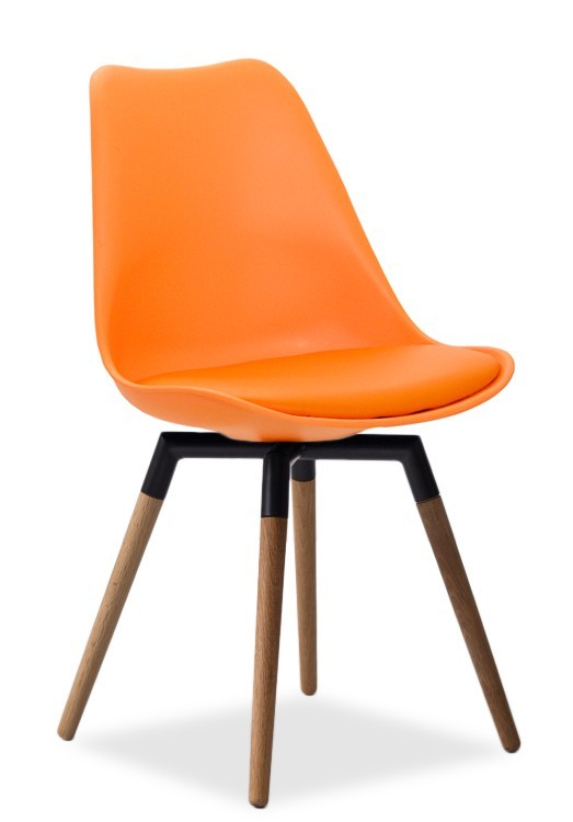 Jídelní židle GINA 9301-817+FIDO 9315-154 (oranžová,černá,dub)