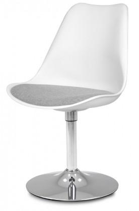 Jídelní židle GINA 9361-413+TRUMPET 9341-091 (bílá,šedá,chrom)