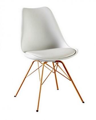Jídelní židle Gina Porgy (sedák bílá / konstrukce měď)