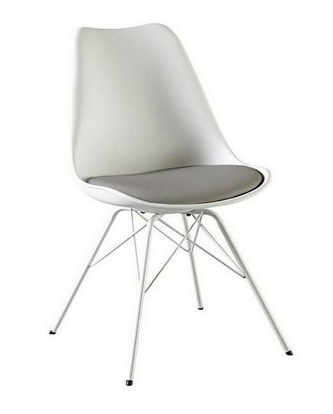 Jídelní židle Gina Porgy (sedák bílá, šedá / konstrukce bílá)