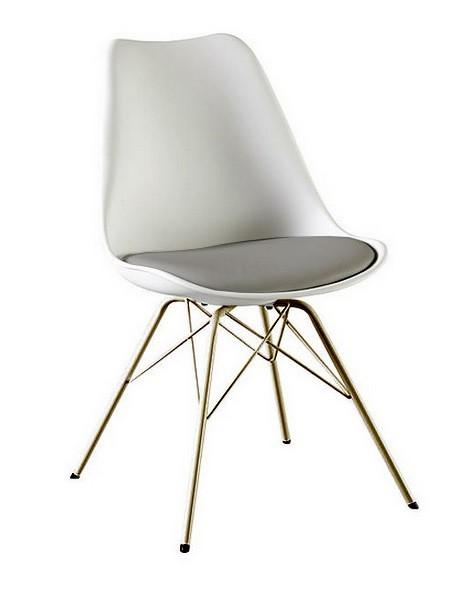 Jídelní židle Gina Porgy (sedák bílá, šedá / konstrukce bronz)