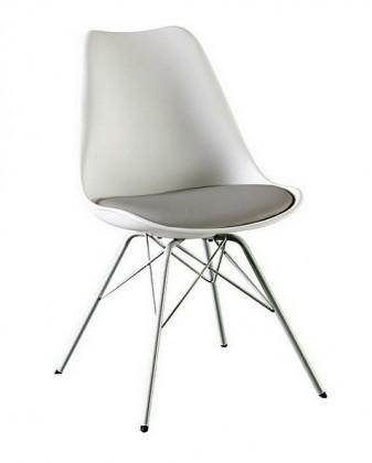 Jídelní židle Gina Porgy (sedák bílá, šedá / konstrukce chrom)
