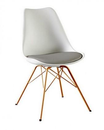 Jídelní židle Gina Porgy (sedák bílá, šedá / konstrukce měď)