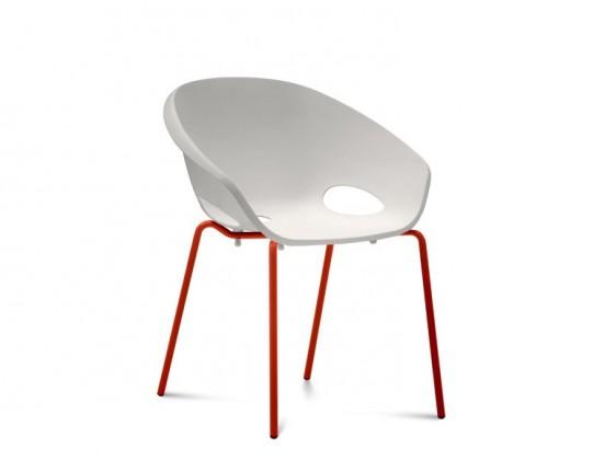 Jídelní židle Globe - Jídelní židle (lak červený, bílá)