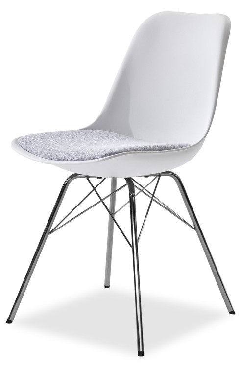 Jídelní židle GRACE 9360-413+PORGY 9346-091 (bílá,šedá,chrom)