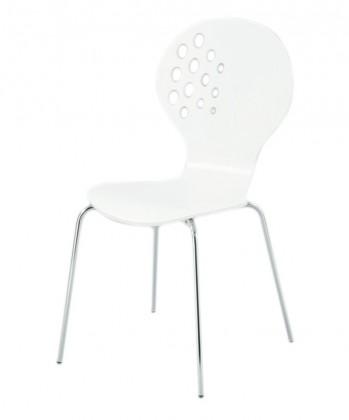 Jídelní židle Jane(vysoký lesk bílý/chrom)