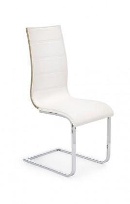 Jídelní židle Jídelní židle K104 (chrom, eko kůže bílá, zadní část dub sonoma)