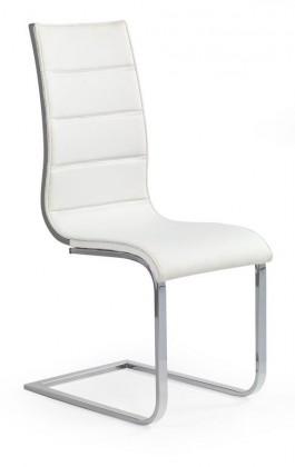 Jídelní židle K104 (chrom, eko kůže bílá, šedá záda)
