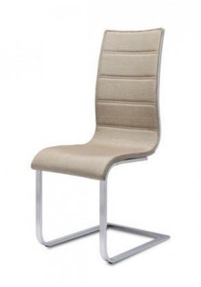 Jídelní židle K104 (chrom, látka béžová, bílá záda)