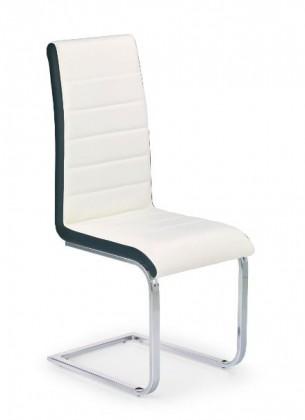 Jídelní židle K132  (eco kůže bílo-černá, chrom)