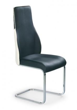 Jídelní židle K141  (eco kůže černo-bílá, chrom)