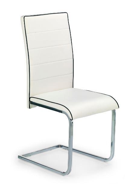 Jídelní židle K148  (eco kůže bílo-černá, chrom)
