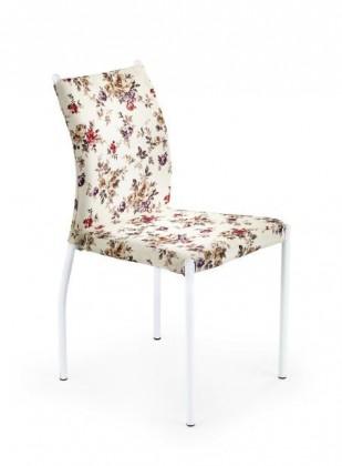 Jídelní židle K169  (béžová s květovaným vzorem / matná ocel bílá)