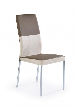 Jídelní židle K173  (eco kůže béžovo-světle hnědá, chrom)