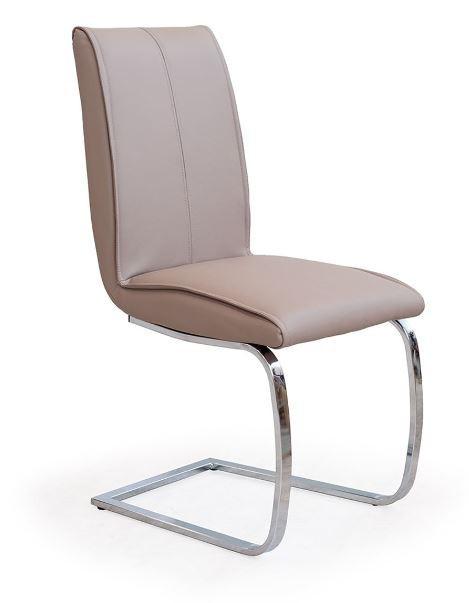 Jídelní židle K177  (eco kůže béžová, chrom)