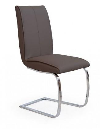 Jídelní židle K177  (eco kůže hnědá, chrom)